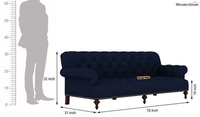 Allison 3 Seater Sofa (Fabric, Indigo Ink)-3
