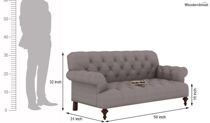 Allison 2 Seater Sofa (Fabric, Warm Grey)-3