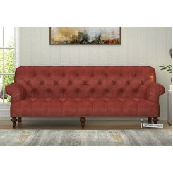 Allison 3 Seater Sofa (Leatherette, Burnt Umber)