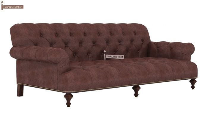 Allison 3 Seater Sofa (Leatherette, Dark Chocolate)-3