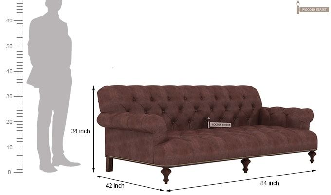 Allison 3 Seater Sofa (Leatherette, Dark Chocolate)-4