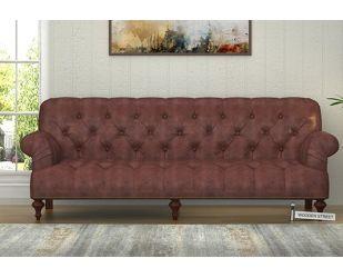 Allison 3 Seater Sofa (Leatherette, Dark Chocolate)