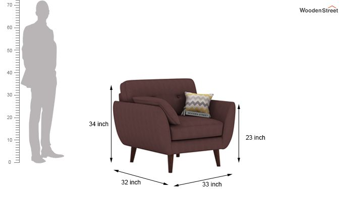 Angela 2 Seater Sofa (Fabric, Classic Brown)-7