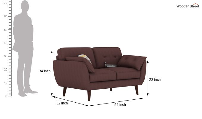 Angela 2 Seater Sofa (Fabric, Classic Brown)-3