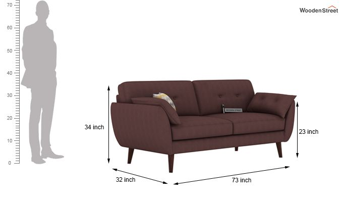 Angela 3 Seater Sofa (Fabric, Classic Brown)-3