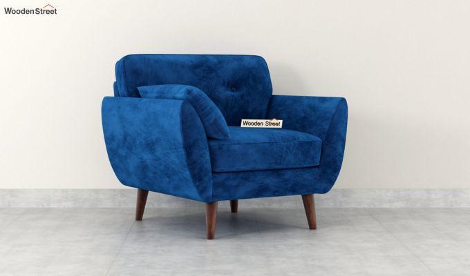 Angela 1 Seater Sofa (Velvet, Indigo Blue)-2