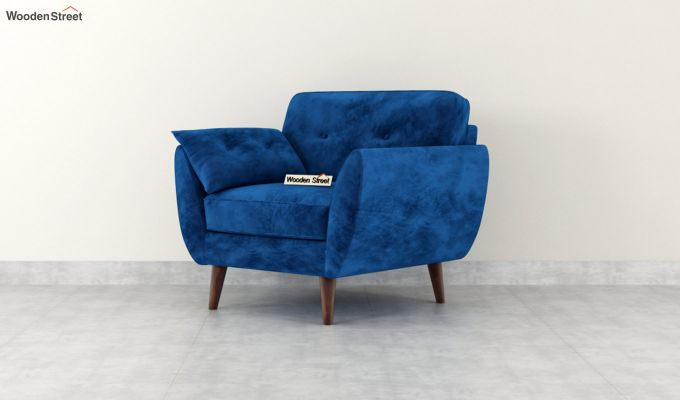 Angela 1 Seater Sofa (Velvet, Indigo Blue)-4