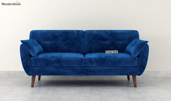 Angela 1 Seater Sofa (Velvet, Indigo Blue)-7