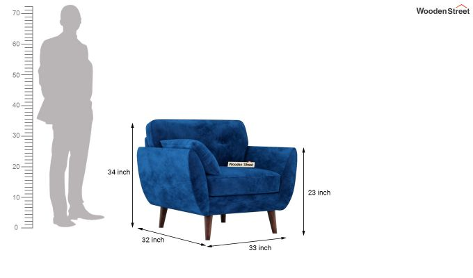Angela 1 Seater Sofa (Velvet, Indigo Blue)-8