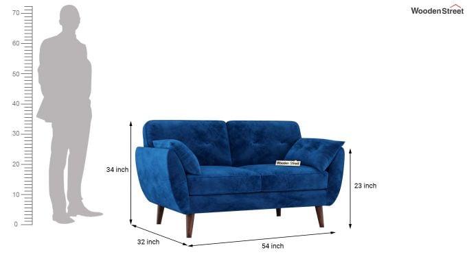 Angela 2 Seater Sofa (Velvet, Indigo Blue)-10