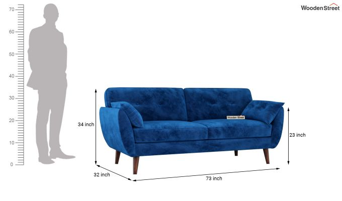Angela 2 Seater Sofa (Velvet, Indigo Blue)-11