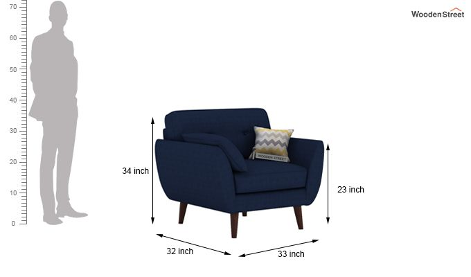Angela 1 Seater Sofa (Fabric, Indigo Ink)-4