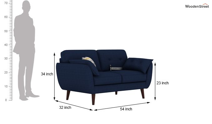 Angela 2 Seater Sofa (Fabric, Indigo Ink)-3