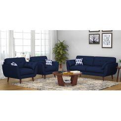 Angela 3+1+1 Fabric Sofa Set  (Indigo Ink)