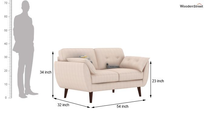 Angela 2 Seater Sofa (Cotton, Ivory Nude)-3