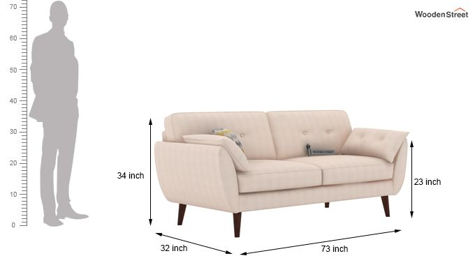 Angela 3 Seater Sofa (Fabric, Ivory Nude)-3