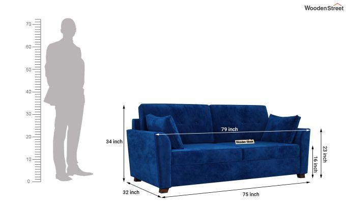 Archerd 2 Seater Sofa (Velvet, Indigo Blue)-11