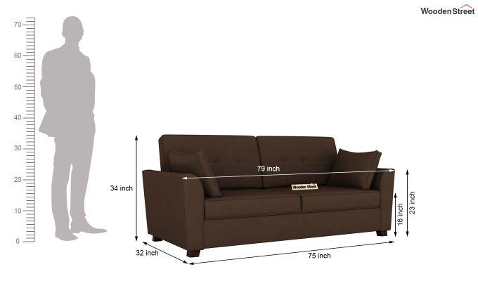Archerd 2 Seater Sofa (Fabric, Classic Brown)-12