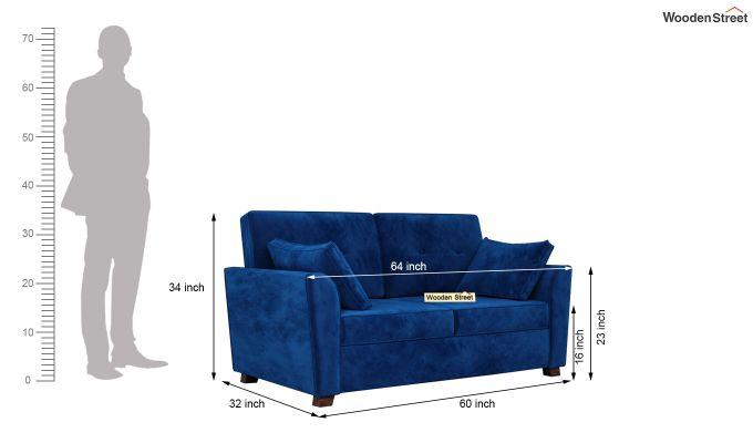 Archerd 2 Seater Sofa (Velvet, Indigo Blue)-5