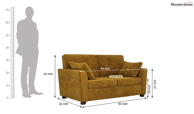Archerd 2 Seater Sofa (Velvet, Chestnut Brown)-11