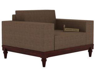 Ayres 1 Seater Fabric Sofa (Classic Brown)