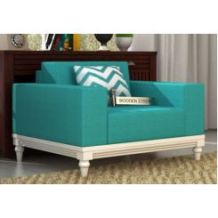 Ayres 1 Seater Fabric Sofa (Electric Turquoise)