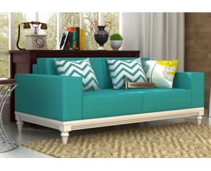Ayres 2 Seater Fabric Sofa (Electric Turquoise)