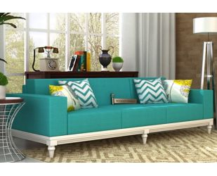 Ayres 3 Seater Fabric Sofa (Electric Turquoise)