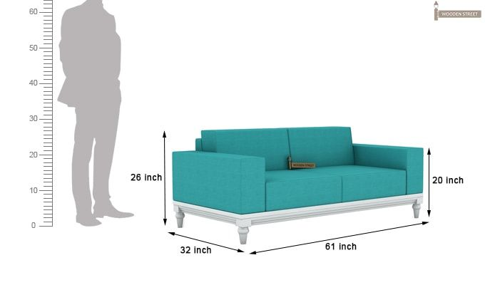 Ayres 2 Seater Fabric Sofa (Electric Turquoise)-4