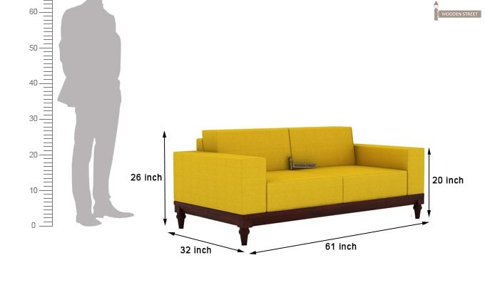 Ayres 2 Seater Fabric Sofa (Yellow Blush)-3