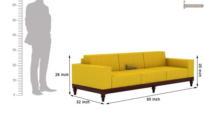 Ayres 3 Seater Fabric Sofa (Yellow Blush)-3