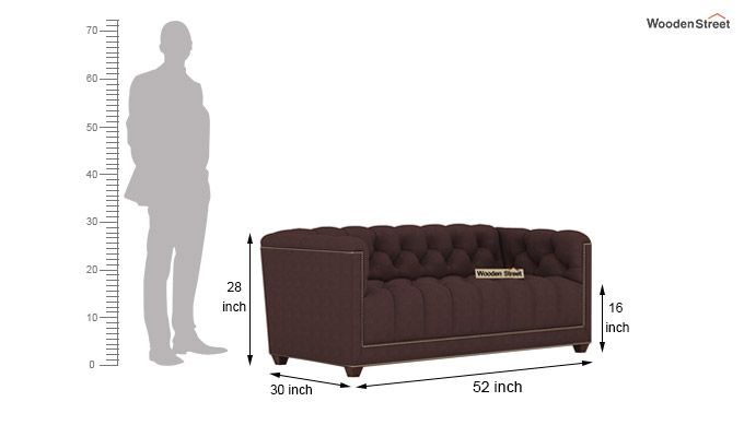 Baxter 2 Seater Sofa (Fabric, Classic Brown)-3