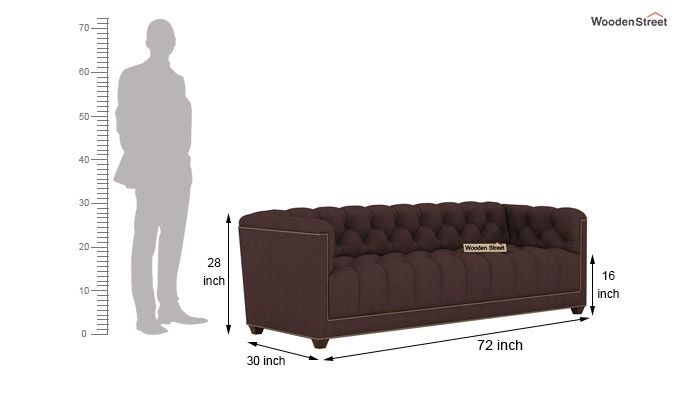 Baxter 3 Seater Sofa (Fabric, Classic Brown)-4