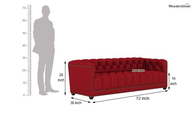 Baxter 3 Seater Sofa (Fabric, Dusky Rose)-4