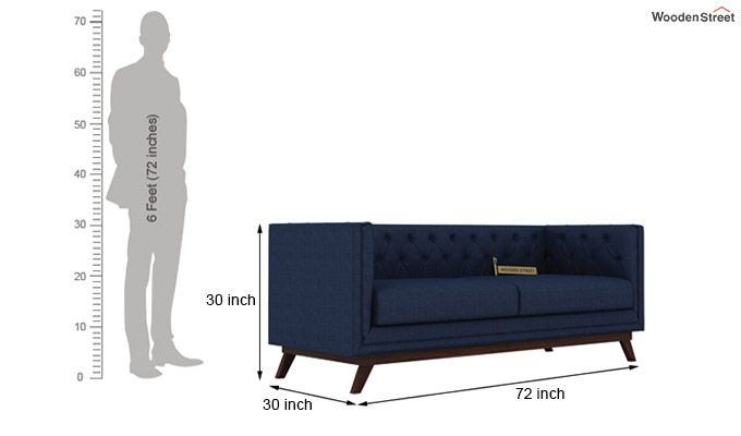 Berlin 3+2 Fabric Sofa Set  (Indigo Ink)-6