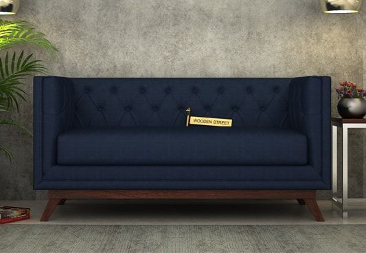 Berlin 2 Seater Fabric Sofa (Indigo Ink)