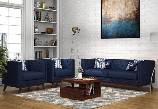 Berlin 3+1+1 Fabric Sofa Set  (Indigo Ink)