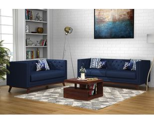 Berlin 3+2 Fabric Sofa Set  (Indigo Ink)