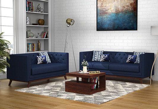Berlin 3+2 Fabric Sofa Set  (Indigo Ink)
