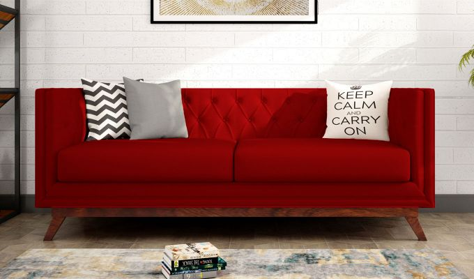 Berlin 3 Seater Sofa (Fabric, Dusky Rose)-1