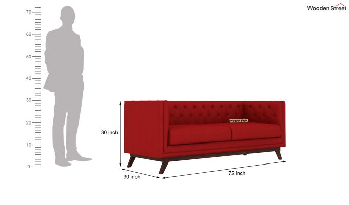 Berlin 2 Seater Sofa (Fabric, Dusky Rose)-9