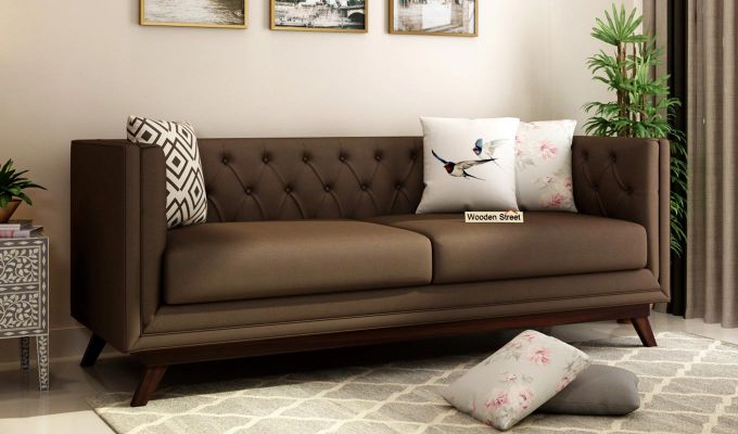 Berlin 2 Seater Sofa (Fabric, Classic Brown)-7