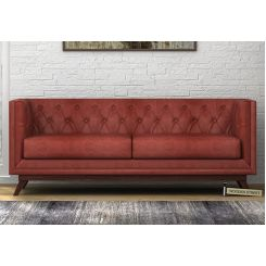 Berlin 3 Seater Sofa (Leatherette, Burnt Umber)