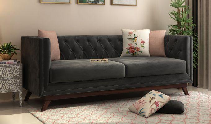 Berlin 2 Seater Sofa (Velvet, Graphite Grey)-8