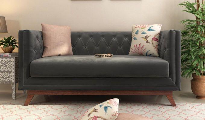 Berlin 2 Seater Sofa (Velvet, Graphite Grey)-2