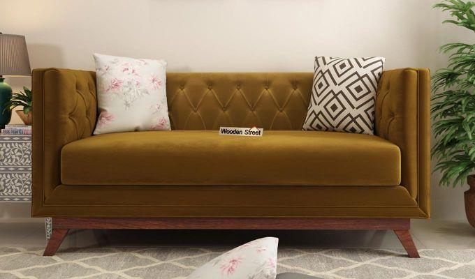 Berlin 2 Seater Sofa (Velvet, Chestnut Brown)-2