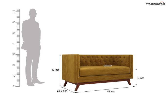 Berlin 2 Seater Sofa (Velvet, Chestnut Brown)-11