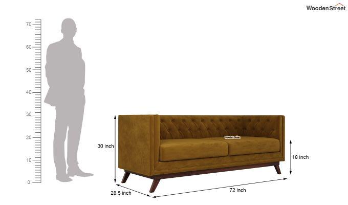 Berlin 2 Seater Sofa (Velvet, Chestnut Brown)-12