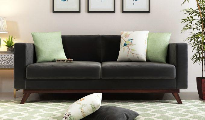 Casper 2 Seater Sofa (Velvet, Graphite Grey)-8