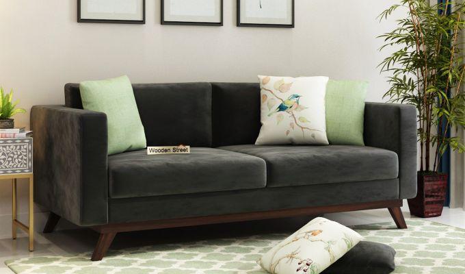 Casper 2 Seater Sofa (Velvet, Graphite Grey)-7